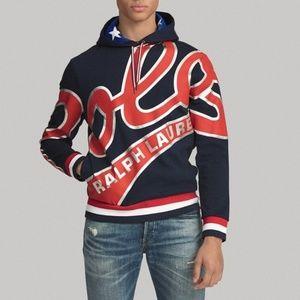 Ralph Lauren Navy Graphic Logo Hoodie Sweatshirt